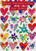Add A Name Valentine-Colourful Hearts And Flowers